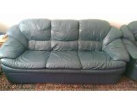 Navy/Black soft sofa with coffee table