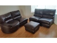 2x2 sofas, and stool, soft leather