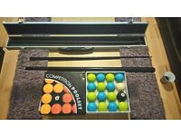 Limited addition pool balls with snooker cue and case