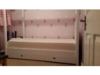 Childrens White Painted 4 Poster Bed with mattress and full length drawer