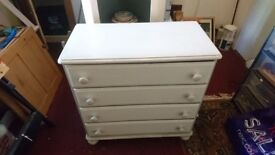 Handpainted pine chest of four drawers