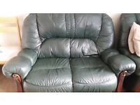 Leather sofa + two chairs, Green, wood bits on arms slight marks but otherwise great condition