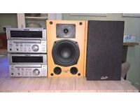 Teac mc-d78 amp x 2 and a pair of gale speakers.