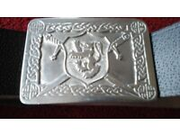Leather Kilt Belt with pewter buckle