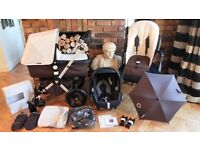 BROWN & OFF WHITE BUGABOO CAMELEON2 PRAM + MAXI COSI CAR SEAT & MANY EXTRAS-RRP£1150.00