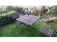 Wooden Garden Table and 2 chairs