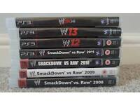 WWE PlayStation 3 Complete set from 2008-2014. PRE-OWNED. All disks inside