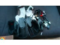 Scuber vest with regulator flippers s gloves mask and snorkel