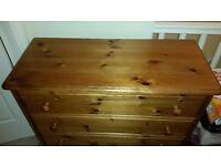 Pine Chest of Drawers and Bedside Cabinets