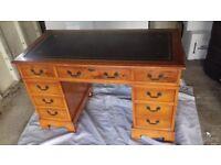 Vintage Desk - Rare Antique Writers Desk - Regency - Georgian - Mahogany - Leather Top