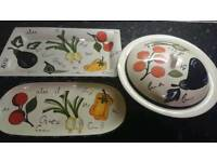 Serving platters and casserole dish