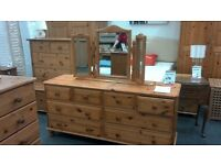 Large Solid wood Pine Chest of Drawers with Mirror on top