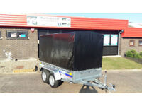 NEW TWIN AXLE TRAILER CAMPING TRAILER 8,6 FT X 4,4 FT 750 kg + CANOPY H-1,56M