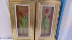 Pair of Red Tulips in Wooden Box Gold Coloured Frame - Beautiful Condition! BARGAIN £8