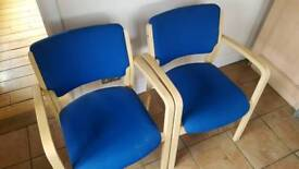 2 x blue stackable chairs