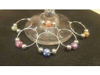 Set of 6 bead design wine glass charms