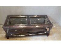 glass mahogany coffee table