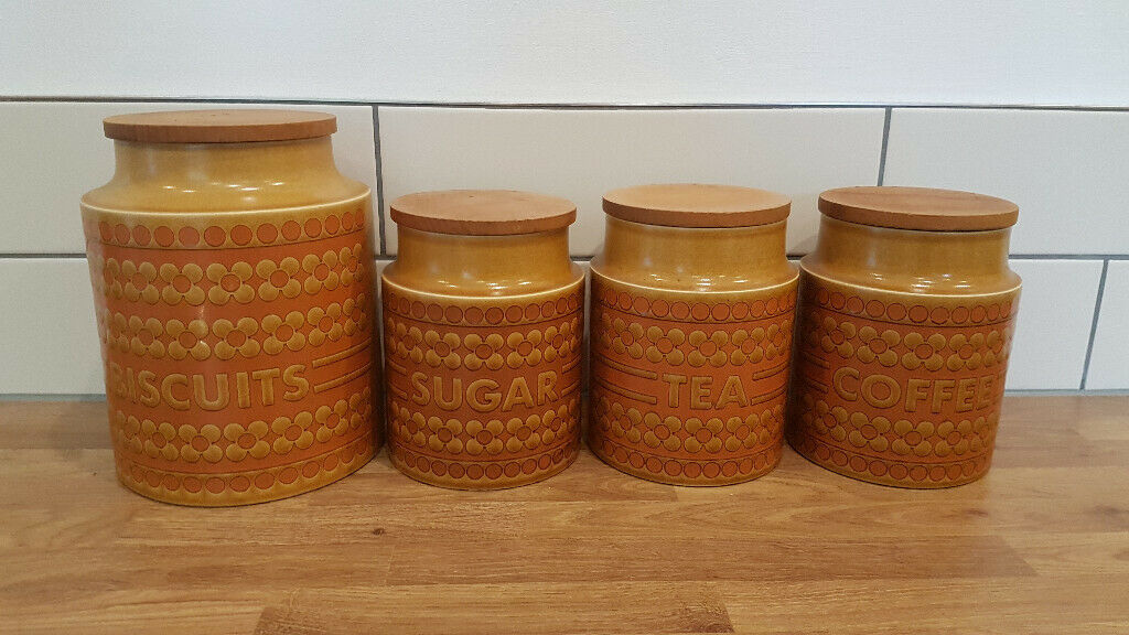Matching Set Of Hornsea Saffron Pottery Biscuit Tea Coffee Sugar Jars In Church Crookham Hampshire Gumtree