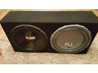 Twin carpeted subwoofer box Fli and JBL 1000w each