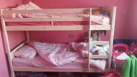White wooden bunk beds excellent condition £100 without the mattresses