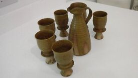VINTAGE RUSTIC STONEWARE SIX GOBLETS WITH PITCHER