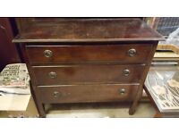 VINTAGE 3 DRAWER CHEST ORIGINAL USED CONDITION WOULD MAKE GOOD SHABBY CHIC UPCYCLING PROJECT