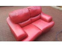 Two 2 Seater Red LEather Sofas