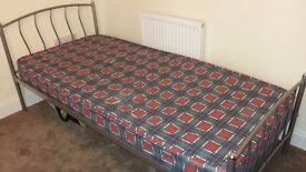 Single standard metal bed frame with/without mattress. Perfect condition and mattress almost new