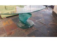 Glass staircase coffee table
