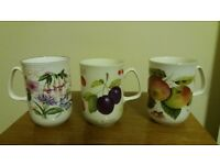 Six fine bone china mugs