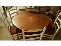 Large round dining room table 4 chairs