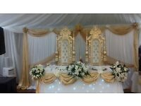 SUMMER OFFER!! DECORATION SERVICES CHAIR COVER/SASH HIRE £1 BALLOONS CATERING EQUIPMENT