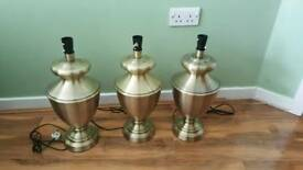 3 large brass metal lamps lights - working -