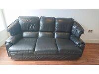 Three Seater Leather Sofa   Black
