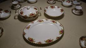 Royal Albert Old Country Roses - Covered Vegetable dish, open Veg' Dish & Large Platter
