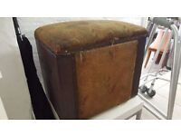 Vintage blanket box with real leather exterior