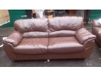 2 Matching Brown Leather Settee's