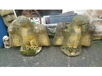 old sandstone garden statues, matching pair