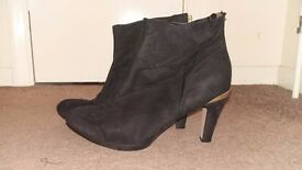 Size 8 Suede Black Stiletto Ankle Boots with Zip Back