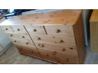 10 drawer solid pine chest/good condition
