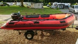 Inflatable Quicksilver Rib 3.80m + engine + Accessories