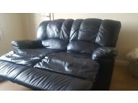 Black leather recliner sofa 2 seater