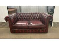 Stunning oxblood 2 seater leather chesterfield sofa £450