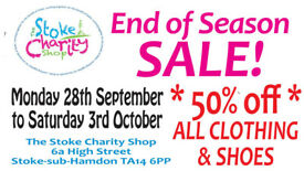 Stoke Charity Shop Half-price End of Season Sale, 28 September to 3 October 2020 TA14 6PP
