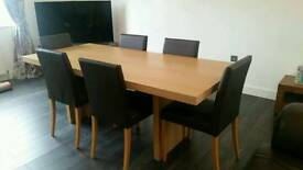 Barker & Stonehouse 6 piece table and leather chairs