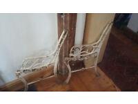 SOLD - Vintage Cast Iron Wooden Garden Bench Ends/Legs
