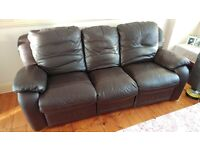 Leather 3 seater sofa/recliner (brown)