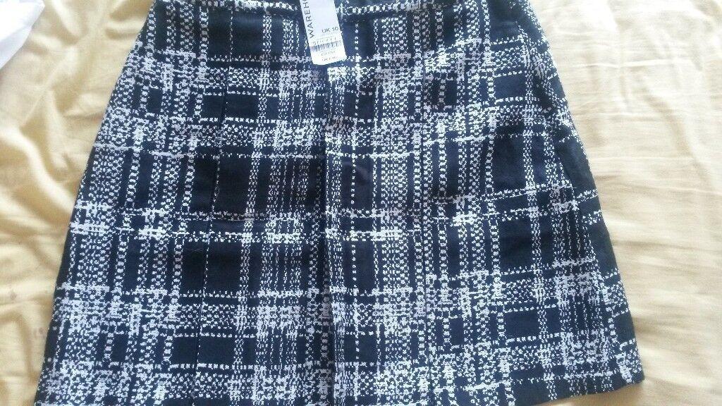 fda5069c66 Checked skirt. Black white. Warehouse. Size 10. NEW never worn