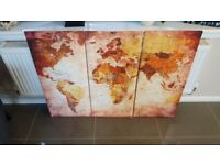 3 pcs Large World Map Modern Wall Oil Canvas Painting Print Home Decor framed