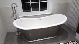 Freestanding bath tub and tap, wash basin with cabinet ,coupled wc